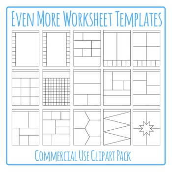 Worksheet Templates / Layouts Clip Art Pack for Commercial
