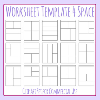 Worksheet Templates / Layouts Four Space / 4 Section Clip Art Commercial Use