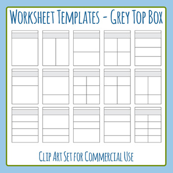 Worksheet Templates / Layouts Grey Box at Top for Instructions Clip Art