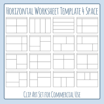 Worksheet Templates / Layouts Horizontal Four Space / 4 Se