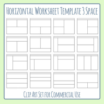 Worksheet Templates / Layouts Horizontal Three Space / 3 Section Clip Art