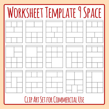 Worksheet Templates / Layouts Nine Space / 9 Section Clip