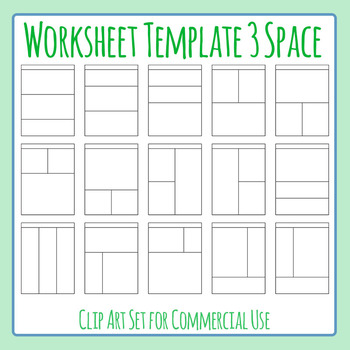 Worksheet Templates / Layouts Three Space / 3 Section Clip Art Commercial Use