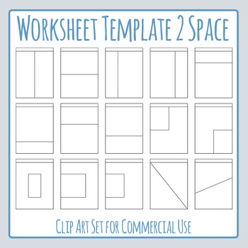 Worksheet Templates / Layouts Two Space / 2 Section Clip Art Commercial Use