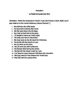 Worksheet: The passé composé with être sentence practice