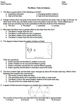 Worksheet - Tides and Eclip... by NYS Earth Science and Living ...
