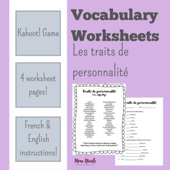 French Worksheets: Vocabulaire - Traits de personnalités