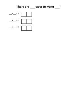 Worksheet - Ways to make numbers 2-10