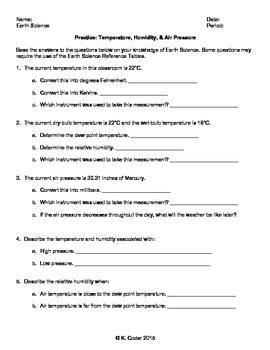 Worksheet - Weather Factors *Editable*