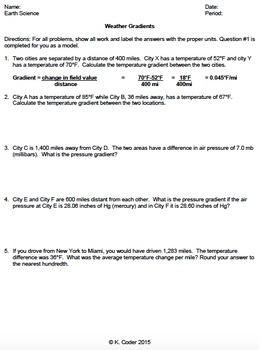 Worksheet - Weather Gradient Calculations *Editable*