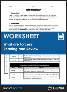 Worksheet - What Are Forces? (An Introduction)