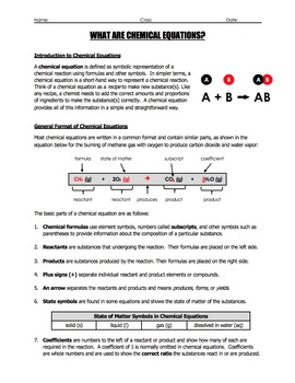Worksheet - What are Chemical Equations?