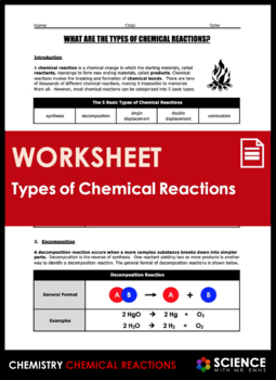 Worksheet - What are the Types of Chemical Reactions?