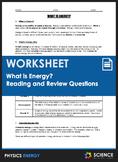 Worksheet - What is Energy, Kinetic Energy, Potential Energy & Energy Transfers