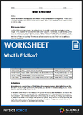 Worksheet - What is Friction?