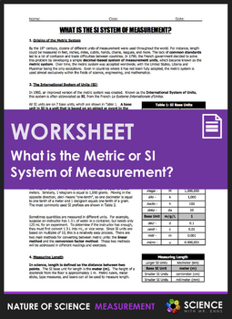 Worksheet - What is the Metric or SI System of Measurement?