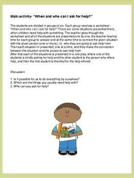 When and who can I ask for help?  Worksheet - Lifes skills