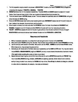 Worksheet: Working as an Actor, and Resumes and Headshots