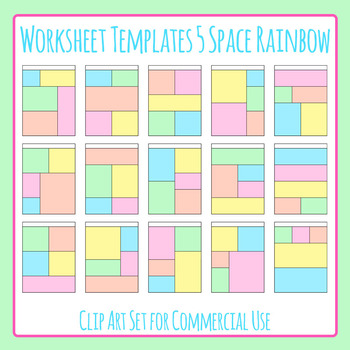 Worksheet Worksheet Templates / Layouts Five Space Rainbow Clip Art Set