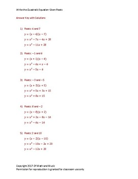 Worksheet - Write the Quadratic Equation Given Roots