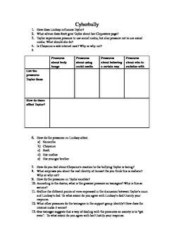 Worksheet about the film Cyberbully