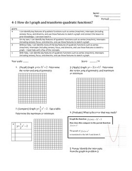 Worksheet and Scales: Graphing and Transforming Quadratics