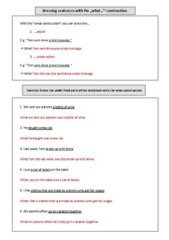 Worksheet + exercise sheet: Stressing statements with the what-construction