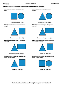 Worksheet for 1.G.1-1.3 - Compare and contrast shapes base