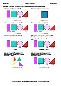 Worksheet for 1.G.1-2.0 - Build and draw shapes to possess defining attributes