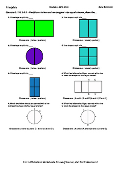 Worksheet for 1.G.3-2.0 - Partition circles and rectangles into equal shares, de