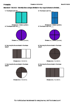 Worksheet for 1.G.3-2.3 - Identify that a shape divided in four equal shares is