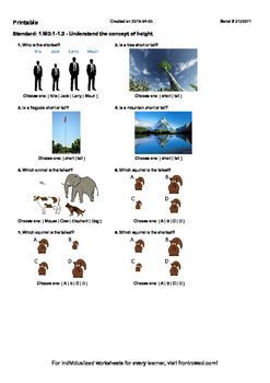 Worksheet for 1.MD.1-1.2 - Understand the concept of height