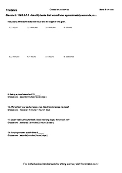 Worksheet for 1.MD.3-1.1 - Identify tasks that would take approximately seconds,