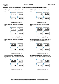 Worksheet for 1.MD.3-1.5 - Understand that a half hour will be represented as h