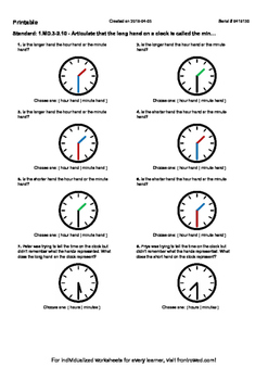 Worksheet for 1.MD.3-2.10 - Articulate that the long hand on a clock is called t