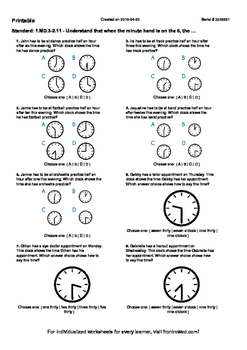 Worksheet for 1.MD.3-2.11 - Understand that when the minute hand is on the 6, t