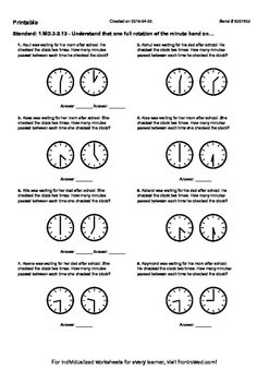 Worksheet for 1.MD.3-2.13 - Understand that one full rotation of the minute hand