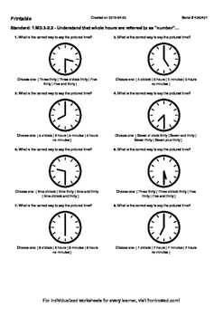 Worksheet for 1.MD.3-2.2 - Understand that whole hours are referred to as number
