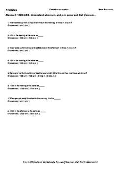 Worksheet for 1.MD.3-2.5 - Understand when a.m. and p.m. o