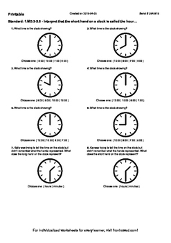 Worksheet for 1.MD.3-2.9 - Interpret that the short hand on a clock is called th