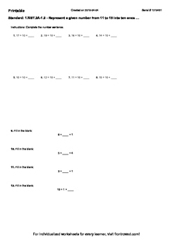 Worksheet for 1.NBT.2A-1.2 - Represent a given number from 11 to 19 into ten on