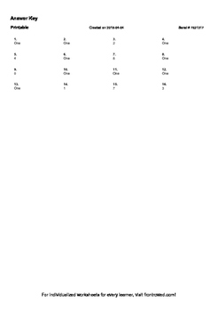 Worksheet for 1.NBT.2B-1.0 - The numbers from 11 to 19 are composed of a ten and