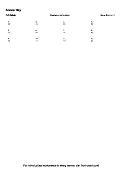 Worksheet for 1.NBT.4-1.0 - Add within 100, specifically adding a two-digit numb