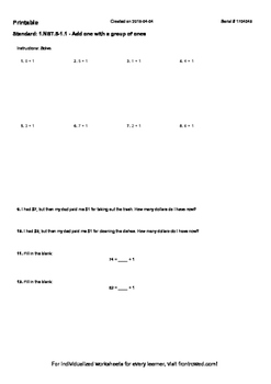 Worksheet for 1.NBT.5-1.1 - Add one with a group of ones