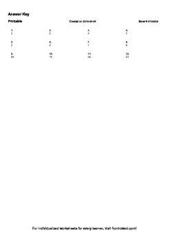 Worksheet for 1.NBT.5-1.2 - Subtract one from a ones