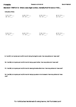 Worksheet for 1.NBT.6-1.3 - Given a two-digit number, mentally find 10 more or 1