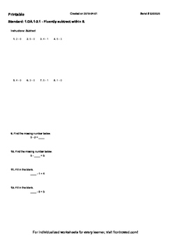 Worksheet for 1.OA.1-2.1 - Fluently subtract within 5