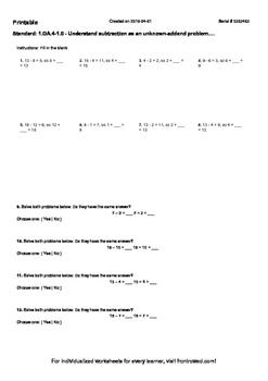 Worksheet for 1.OA.4-1.0 - Understand subtraction as an un