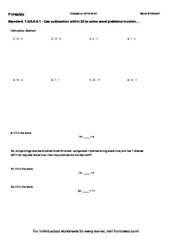 Worksheet for 1.OA.6-3.1 - Use subtraction within 20 to solve word problems invo