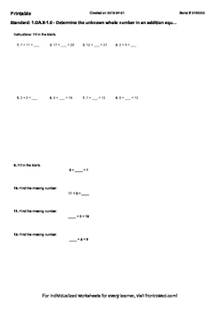 Worksheet for 1.OA.8-1.0 - Determine the unknown whole num